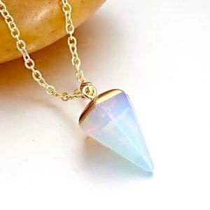 New Opal Long Pendant Necklace